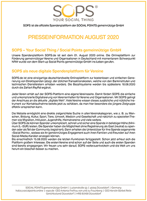 PRESSEINFORMATION AUGUST 2020